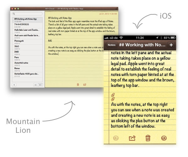 As with reminders, sync of course works with Notes as well