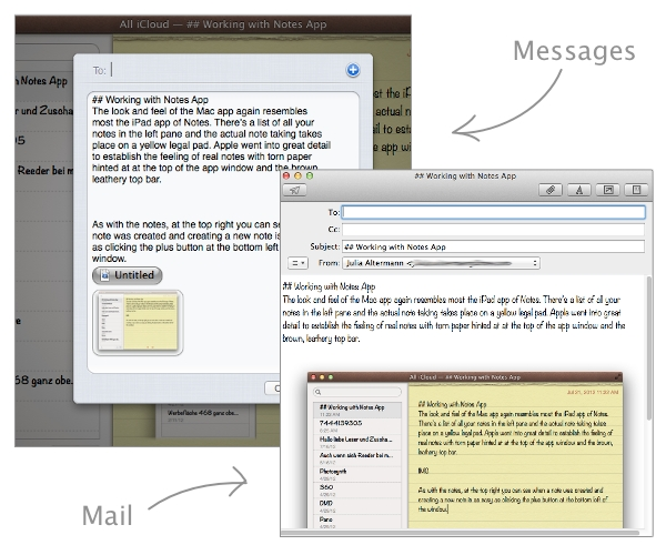 When sharing notes via Messages or Mail, media files will be included