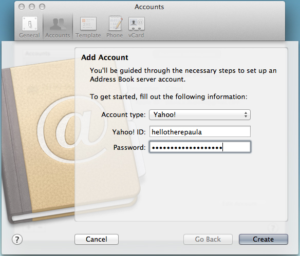 Adding a Yahoo! account to Address Book