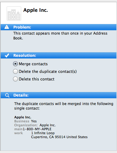 A duplicate contact turned up by a third party tool