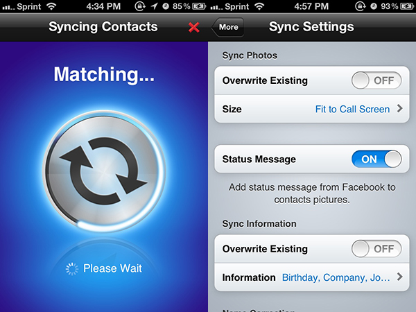 Syncing Facebook contacts to the iPhone