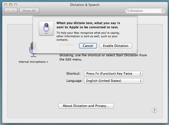 Dictation giving you a heads up that it's going to take a look at through your stuff