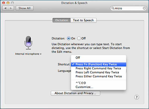 Selecting a keyboard shortcut for Dictation