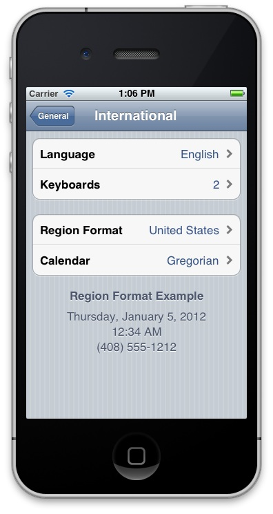 Localization: screenshot showing the Language section of settings