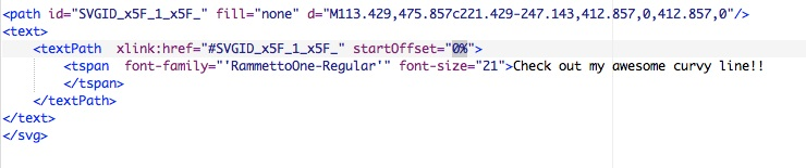 screenshot: highlighting startOffset code