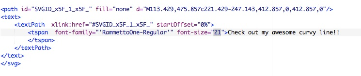 screenshot: highlighting font-size code