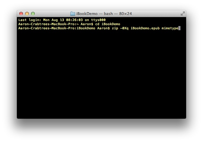 Screenshot: Terminal command line one