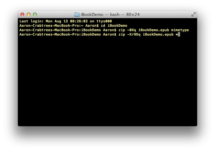 Screenshot: Terminal command line two