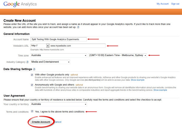 Google Analytics Account Creation