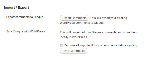 Screenshot 4: Exporting existing comments to Disqus